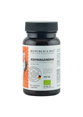 Ashwagandha Ecologica din India (400 mg) - extract 5% Republica BIO, 60 capsule (29,7 g)