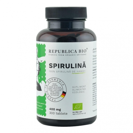 Spirulina Ecologica de Hawaii (400 mg) Republica BIO, 300 tablete (120 g)